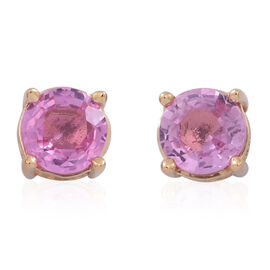 ILIANA 18K Yellow Gold AAA Pink Sapphire (Rnd) Stud Earrings (with Screw Back) 1.000 Ct.