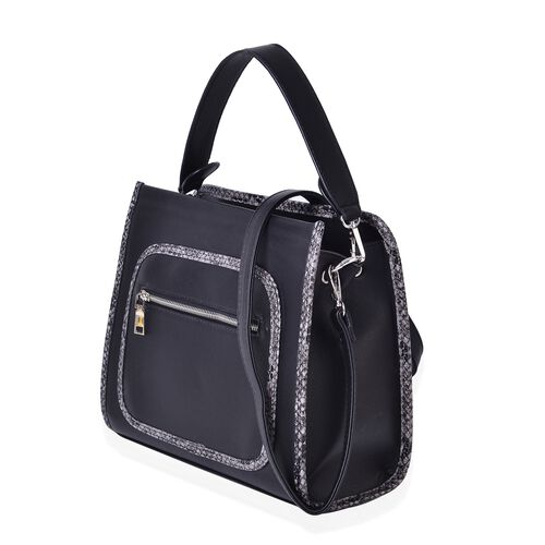Manhattan Black Chic Tote Bag with Snake Print Design and Removable Shoulder Strap (Size 30X25X13 Cm)