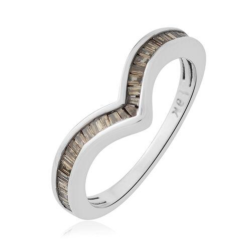 9K White Gold SGL Certified Natural Champagne Diamond (Bgt) (I2) Wishbone Ring 0.500 Ct.