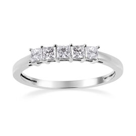 RHAPSODY 950 Platinum IGI Certified Diamond (Sqr) ( VS/E-F) Five Stone Ring 0.50 Ct.