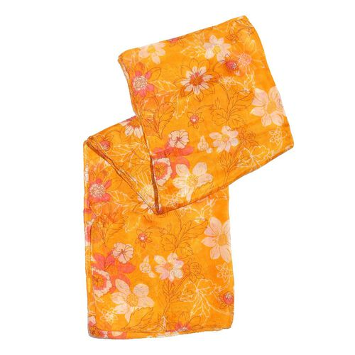 100% Mulberry Silk Yellow, Pink and Multi Colour Floral Printed Orange Colour Scarf (Size 180X50 Cm)