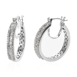 0.76 Ct Diamond and Hoop Earrings with Clasp in Platinum Plated Silver 8 Grams