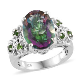 Mystic Green Topaz (Ovl 14x10 mm), Russian Diopside Floral Ring in Platinum Overlay Sterling Silver 7.250 Ct, Silver wt 5.72 Gms.