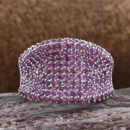 Rhodolite Garnet (Rnd) Cluster Ring in Platinum Overlay Sterling Silver 4.750 Ct.Total Number of Stones 216 Silver wt 8.47 Gms.