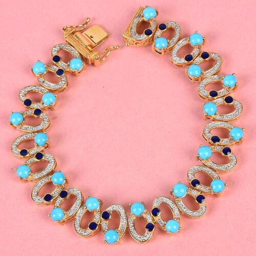 Arizona Sleeping Beauty Turquoise Infinity Bracelet (Size 7.5) in 14K Gold Overlay Sterling Silver 7.00 Ct, Silver wt 18.00 Gms