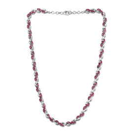 African Ruby (Mrq) Necklace (Size 18) in Platinum Overlay Sterling Silver 14.250 Ct, Silver wt 26.38 Gms.