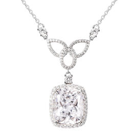 ELANZA Simulated Diamond Necklace (Size 18) in Platinum Overlay Sterling Silver 15.34 Ct, Silver wt