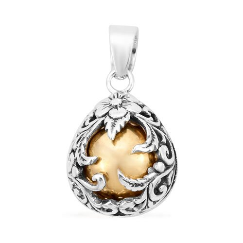 One Time Deal- Yellow Gold Overlay Sterling Silver Floral Vine Pendant, Silver wt. 6.10 Gms