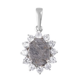 9K White Gold Meteorite and Natural Cambodian Zircon Halo Pendant 5.32 Ct.