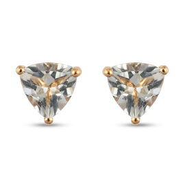 Prasiolite Solitaire Stud Push Post Earring in 14K Gold Overlay Sterling Silver 1.87 ct  1.870  Ct.
