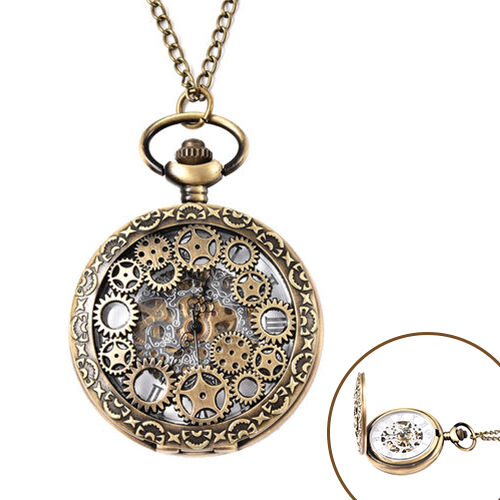 GENOA Automatic Mechanical Hollow-Out Gears Pattern Pocket Watch with Chain in Antique Bronze Tone