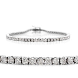 14K White Gold EGL Certified Diamond (Rnd) (I2/G-H) Tennis Bracelet (Size 7.5) 5.04 Ct, Gold wt 11.9