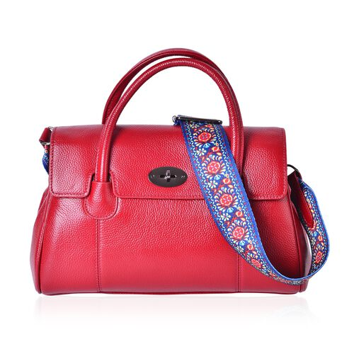 Designer Inspired-100% Genuine Leather True Red Colour Tote Bag with Colourful Shoulder Strap (Size 32x21x13 Cm)