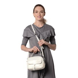 HONG KONG CLOSE OUT DEAL- 100% Genuine Leather White Metallic Colour Crossbody Bag with External Zip