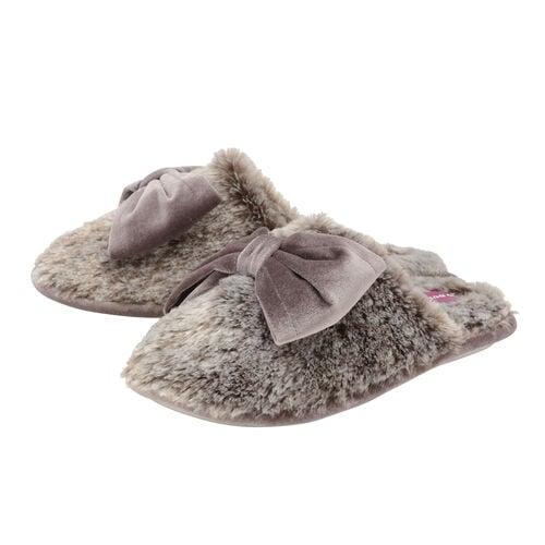 Dunlop Memory Foam Faux Fur Bow Slip On Slippers in Grey/Mink Colour