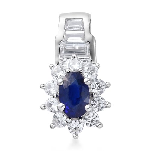 Tanzanian Blue Spinel, Natural Cambodian Zircon Pendant in Platinum Overlay Sterling Silver 1.25 Ct.