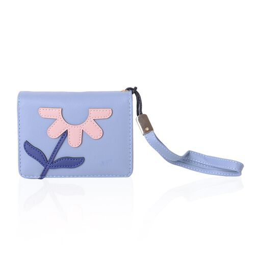 Navy, Pink and Light Blue Colour Flower Pattern Bi-Fold Ladies Wallet (Size 12x9x3.5 Cm)