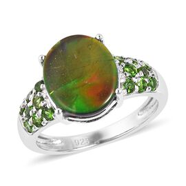 Canadian Ammolite and Russian Diopside Cocktail Ring in Sterling Silver 4.3 Grams