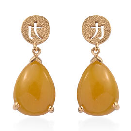 Yellow Jade (Pear 16x12 mm) Earrings (with Push Back) in 14K Gold Overlay Sterling Silver  18.500 Ct.