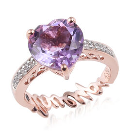 GP Rose De France Amethyst (Hrt), Natural Cambodian Zircon and Blue Sapphire Ring in Rose Gold Overl