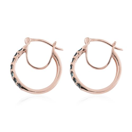 Blue Diamond (Bgt) Hoop Earrings (with Clasp Lock) in Rose Gold Overlay Sterling Silver 0.500 Ct.
