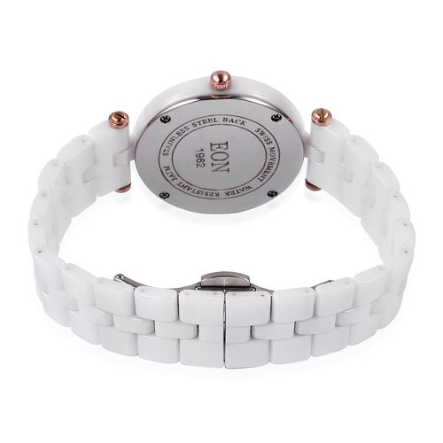 EON 1962 Swiss Movement White MOP Dial 3ATM Water Resistant Watch in Rose Gold Tone with White Ceramic Strap