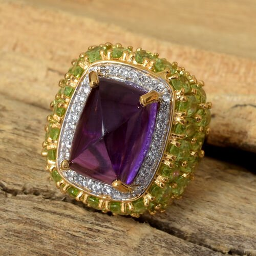 GP Amethyst (Cush 14x10 mm), Kanchanaburi Blue Sapphire, Hebie Peridot and Natural Cambodian Zircon Ring in 14K Gold Overlay Sterling Silver 18.250 Ct, Silver wt 8.32 Gms.