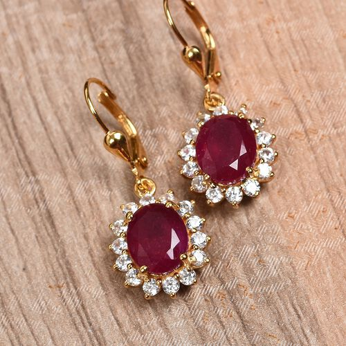 African Ruby and Natural Cambodian Zircon Lever Back Earrings in 14K Gold Overlay Sterling Silver 9.00 Ct.
