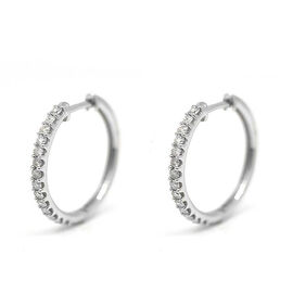 New York Close Out - 14K White Gold Diamond (Rnd) (I2/G-H) Hoop Earrings (with Clasp Lock) 0.500 Ct.