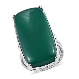 Green Onyx Ring in Silver Tone 30.00 Ct.