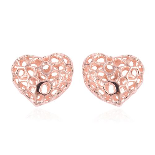 RACHEL GALLEY Rose Gold Overlay Sterling Silver Puff Amore Heart Lattice Earrings (with Push Back)