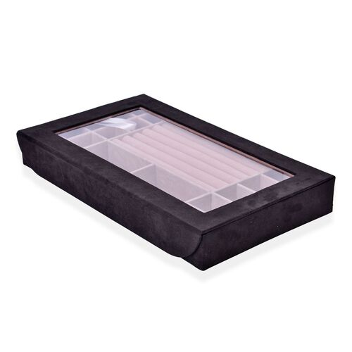 Rectangular Black Colour Velvet Jewellery Box (Size 37.8X23X5 Cm)