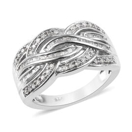 0.50 Ct Diamond Criss Cross Ring in Platinum Plated Silver Ring 5 Grams