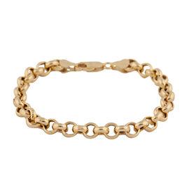 Italian Made - Gold Overlay Sterling Silver Rolo Bracelet (Size 7.5),  Sliver Wt. 7.94 Gms