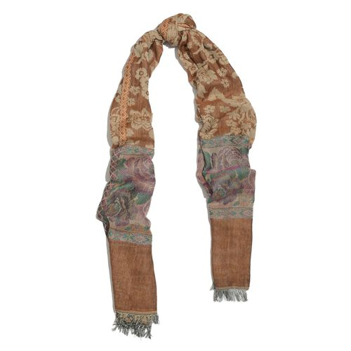Chocolate, Pink and Multi Colour Floral Pattern Scarf (Size 180x70 Cm)