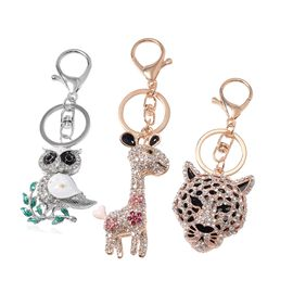 DOD- 3 Piece Set- Multi Colour Austrian Crystal and White Shell Owl, Lamb and Leopard Face Key Chain