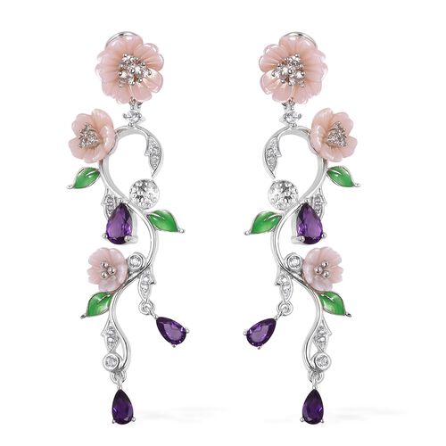 JARDIN COLLECTION - Pink Mother of Pearl, Amethyst and Natural White Cambodian Zircon Floral Enamele
