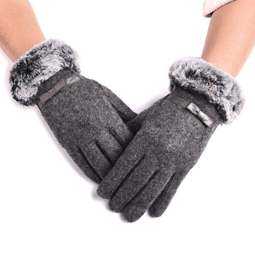 Solid Grey Cashmere Gloves with Bowknot Detail and Grey Faux Fur Trim