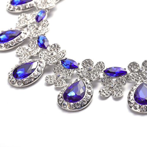 2 Piece Set - Simulated Tanzanite and White Austrian Crystal Drop Earrings and Adjustable Necklace (Size 18-22) in Silver Tone