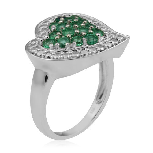 AAA Kagem Zambian Emerald (Rnd) Heart Ring in Rhodium Overlay Sterling Silver