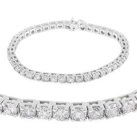 14K White Gold SGL Cerified Diamond (Rnd) (I1/I2/G-H) Bracelet (Size 7.5) 10.750 Ct, Gold wt 19.80 G