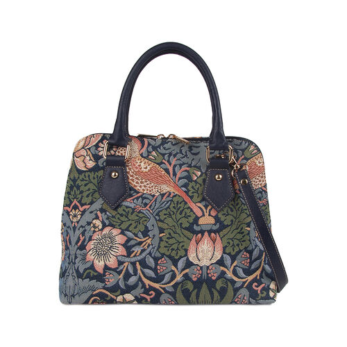 Signare Tapestry - Strawberry Theif Print Shoulder Bag with Coin Pouch - Blue