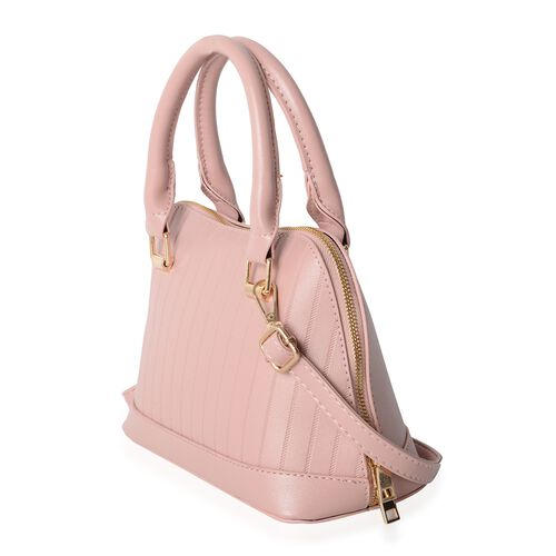 Pink Colour Tote Bag with External Zipper Pocket and Removable Shoulder Strap (Size 24x17x11x11 Cm)