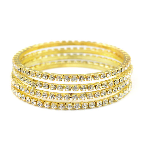 One Time Close Out - 4 Piece Set Simulated Diamond (Rnd) Bangle (Size 7) in Gold Tone