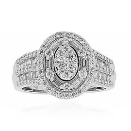 New York Close Out 1.02 Ct Diamond Cluster Ring in 14K White Gold I1 I2 GH