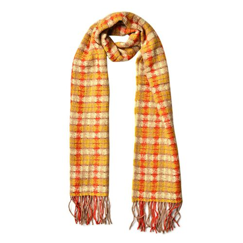 100% Wool Yellow, Red and Multi Colour Checks Pattern Scarf with Tassels (Size 180X30 Cm)