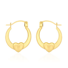 Designer Inspired 9K Yellow Gold Heart Creole Hoop Earrings