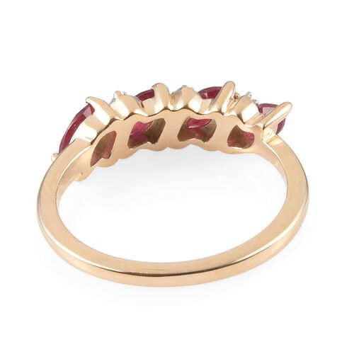 9K Yellow Gold AA African Ruby (Mrq), Natural Cambodian Zircon Ring 0.79 Ct.