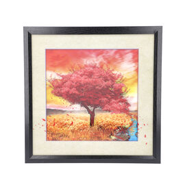 5D Cherry Blossom Tree Painting (Size: 43.5x43.5x4.5 Cm) - Red and Multi