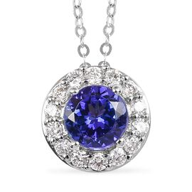 RHAPSODY 950 Platinum AAAA Tanzanite and Diamond (VS /E-F) Pendant with Chain (Size 18) 1.00 Ct.